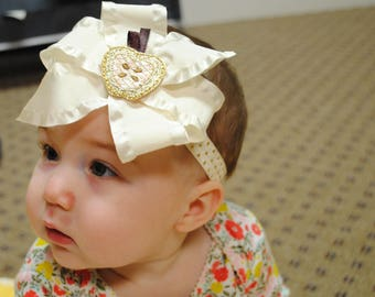 Ivory Baby Head Band - Ivory and Gold Baby Bow Headband - Satin Ruffle Ribbon Bow with Cream and Gold Apple Center - Holiday Baby Girl Bow