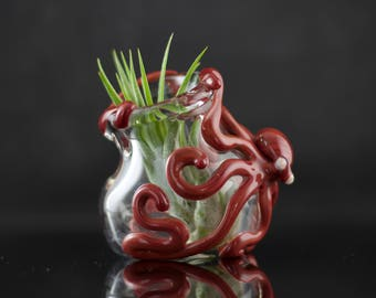 Octopus Terrarium / Glass Globe Terrarium / Glass Planter / Air Plant Holder / Succulent Container / Clear & Ruby / Ready to Ship #647