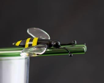 Honey Bee Glass Straw / Reusable Straw / Mason Jar Straw / Honey Bee / Eco Friendly / Barware / Pyrex / Emerald Green / Ready to Ship, #690