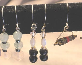 4 pair of semiprecious beaded earrings #2-FREE USPS 1st class Shipping