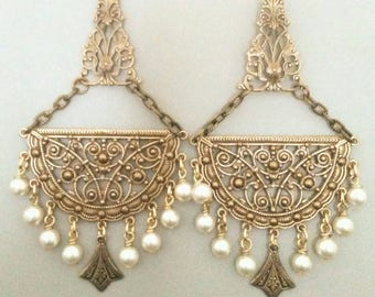 Vintage Pearl  Earrings  Antique Gold  Jewelry Baroque Victorian Style   By Red Gypsy Jewelry