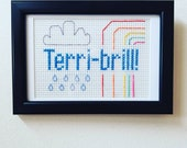 Terri-brill embroidery. Stitched & Framed. Cloud and rainbow. When everything is terrible but also brilliant.
