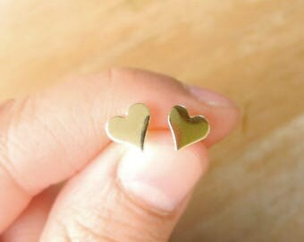 Heart Stud Earrings, Gold Brass Heart Earrings, Black Friday Sale, Heart Jewelry, Small Heart Earrings, Sterling Silver Hypoallergenic Posts