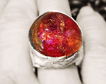 artisan ring sterling silver Basha electric red gold lampwork glass bead 7.25  My electric garden