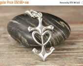 CLOSING SALE Cross Anchor Heart Sterling Silver Pendant - Nautical jewelry - Anchor ring - Anchor jewelry - Beach jewelry - Sailing - Navy