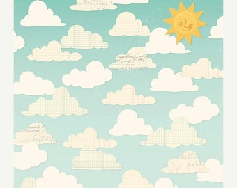 NOW ON SALE October Afternoon Summertime Puffy Clouds Scrapbook Paper, 2 pcs.