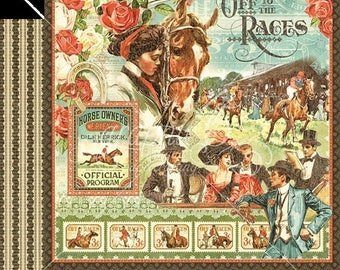 NOW ON SALE Graphic 45 Off to the Races Scrapbook Paper