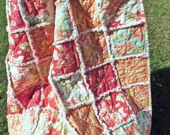 Floral Rag Quilt - Lap Quilt - Modern Rag Quilt - Shades of Red, Orange - Cottage Chic Rag Quilt - Flower Rag Quilt - Rag Lap Quilt