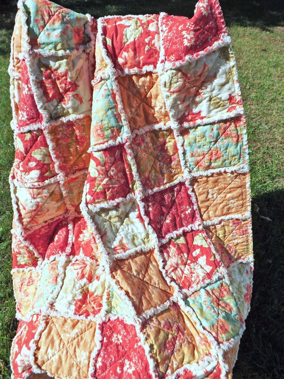 Ready to Ship Lap Rag Quilt made with Pretty Shades of Red and Orange Floral Fabrics
