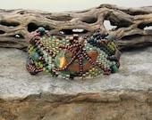 Free Form Peyote Stitch Beaded Bracelet Cuff  - Splash Copper - Bead Weaving - BOHO