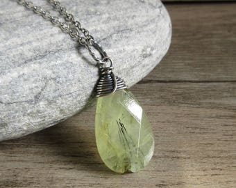 Prehnite Necklace, Sterling Silver, Wire Wrapped Pendant, Green Prehnite Teardrop, Rustic Necklace, Natural Stone Jewelry
