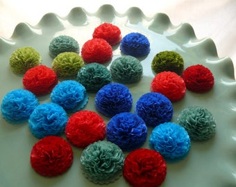 Button Mums Tissue Small Paper Flowers Wedding, Bridal Shower, Baby Shower Decor Teal, Green, Blue, Red Wedding Flowers