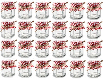 24 Hexagon Glass Jars with Red and White Gingham Fabric Jar Covers and Twines