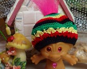 RESERVED amanda Crochet clothes outfit for 2 3/4 to 3 inch Troll doll Hat Rastafarian Black Green Yellow Red