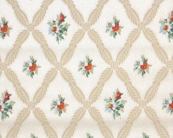 1940s Vintage Wallpaper by the Yard - Floral Wallpaper with Blue and Red Flowers on Cream Beige