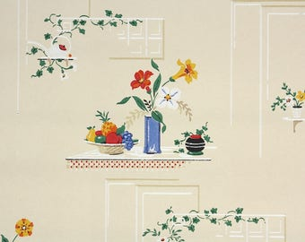 1940s Vintage Wallpaper by the Yard - Kitchen Wallpaper Design with Flowers and Fruit