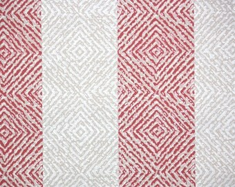 1940s Vintage Wallpaper by the Yard - Geometric Wallpaper Gray and Red Geometric Stripe