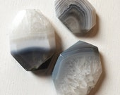 42 x 35mm, 25 x 35mm Faceted Gray/Clear Agate Slab Focal Beads