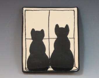 Handbuilt Ceramic Soap Dish with Cats