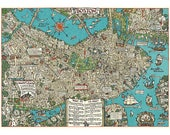Boston Wrapping Paper by Cavallini to Frame or for Wrapping, Book Binding, Decoupage, Collage, Scrapbooking, Paper Arts & MORE PSS 3266