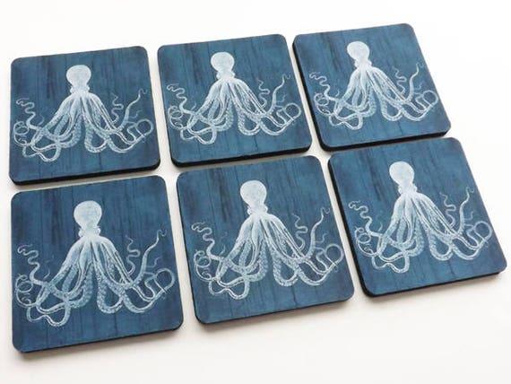Nautical Drink Coaster Gift Set mug mats Dark Blue Octopus beach housewarming tentacles kraken rustic style ocean hostess gift housewares