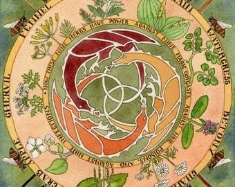 9 Herbs Charm mandala ORIGINAL painting
