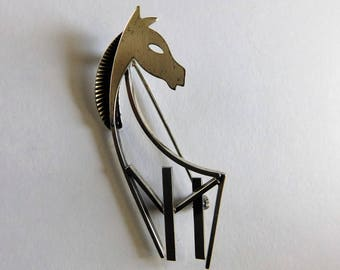 Vintage Sterling Horse Pin Beau Sterling Brooch Mid Century Jewelry