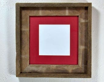 Picture frame recycled wood with mat for 4x6 5x5 or 6x6 without mat 8x8 complete free US shipping