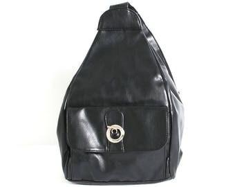 TRIANGLE black leather 80s 90s KNAPSACK backpack GRUNGE
