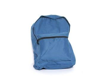 BLUE nylon 80s 90s GRUNGE BACKPACK unisex camping
