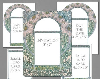 Wedding Invitation Template Graphics for Invite, RSVP, Save the Date, Info Cards - Daisy Floral Border Blue Pink Green Art Nouveau Frame