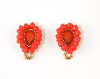 Red Gold Earring Posts Red Teardrop Beaded Jewel Earring Post Findings with Loop |R1-15|2