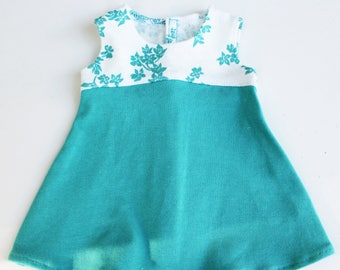 Fits like American Girl Doll Clothes - The Tri-City Dress in Aqua Flowers
