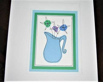 Greeting Card Mixed Media Pitcher with Flowers