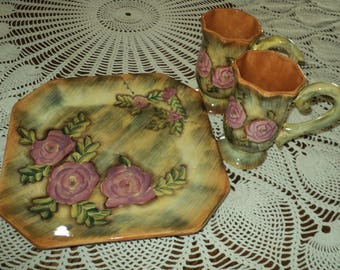 Matching Set of Hand Painted Cake Plate With Two Mugs