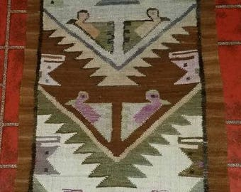 LONG Vintage Handwoven Wool Rug Table Runner or Wall Hanging