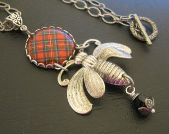 Scottish Tartan Jewelry - Ancient Romance Series - Scottish Tartans Collection - Royal Stewart Queen Bee Necklace Antique Silver
