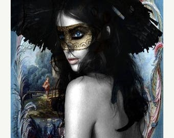 HUGE SUMMER SALE 40% off Fine Art Print, Giclee Archival Print, Photomontage, Collage, Painted Photographs, Being Antoinette