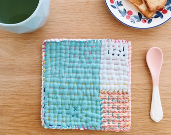 Hand stitched trivet . Coaster . Placemat . Fabric trivet . Pan Pot holder . Handmade trivet . Stitched trivet . Oven Mitt . Gift for Her