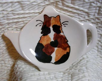 Calico Cat With Heart Teabag Holder Ceramic Handmade By Grace M. Smith