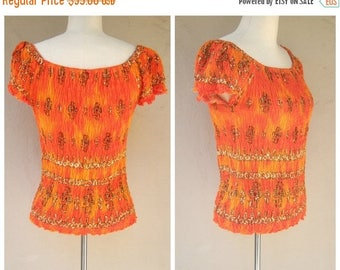 30% MOVING SALE Vintage stretch top / tribal print, ethnic vibe, orange ombre / womens xl 2x plus size