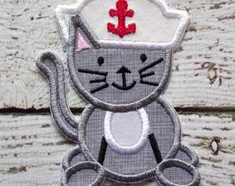 Sailor Kitty Cat Iron On Or Sew On Fabric Applique