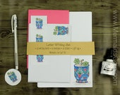 Letter Writing Set - Bright Mexican Pot and Succulent Plant