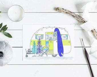 Australian Holiday greeting Card - retro caravan surf camping summer holiday with surfboard - A6 watercolour print yellow and purple