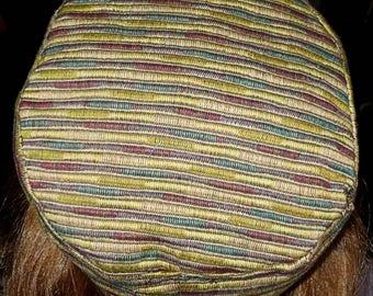 "On sale Geometric stripes Bucharian kippah elegant earthy tapestry yarmulke 23""  gorgeous last one great gift for him or her"