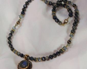 Labradorite Sun Pendant Necklace Set