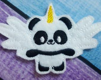 Pandicorn Feltie, Panda Bear Feltie, Felt Embellishments, Felt Applique, Hair Bow Supplies