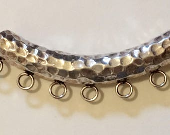 """HOLD FOR TERRY - Clearance Large Thai Hill Tribe Silver Bail curved hammered tube bead - large holed - with 7 loops - about 2"""""""