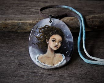 Beautiful Gypsy - fused glass pendant -