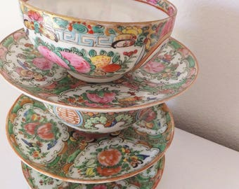 Ornate Hand Painted Oriental Tea cups Asian Floral Cups Beautiful Bohemian Gypsy Kitchen Decor Colorful Decadent Asian Cups